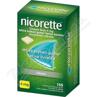 Nicorette Classic Gum 4mg léčivá žvýkací guma 105